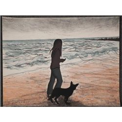 N. Gruen Signed Printers Proof Girl & Dog On Beach