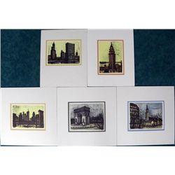 5) Bernard Buffet Colored Lithographs City Scape Prints