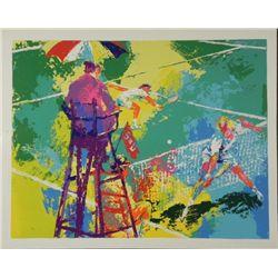 LeRoy Neiman Signed Tennis Art Print Sudden Death 1973