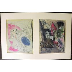 Pablo Picasso (Guernica) Colored Lithograph Sketch 1937