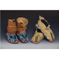 Two Pair of Hide Moccasins
