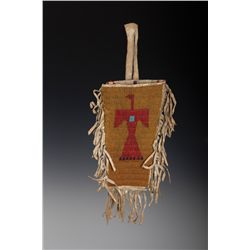 Sioux Pictorial Beaded and Fringed Bag