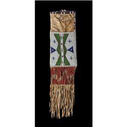 "Lakota Beaded ""Flag"" Tobacco Bag"