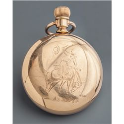 Waltham Pocket Watch with Bucking Horse Engraving