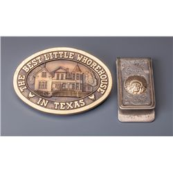Edward H. Bohlin Money Clip from Burt Reynolds, and Brass Belt Buckle