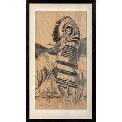 William Matthews, six charcoal drawings