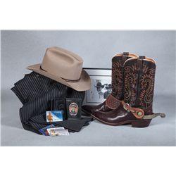 Harry Carey Jr. Boots, Spurs, Hat, Pants and Badges