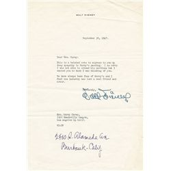 Notable signed letters from the Carey Family Collection, from Walt Disney, William S. Hart, James St
