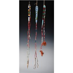 Lot of 3 Sioux Beaded and Quilled Awl Cases