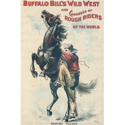 "Buffalo Bill's Wild West ""Rearing Bucker"" Lithograph"