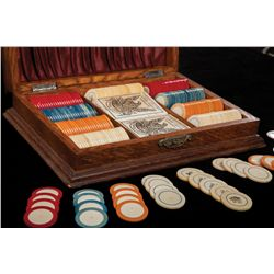 Boxed Set of 238 Antique Poker Chips