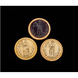 """Three """"Miss Justice"""" Antique Saloon Poker Chips"""