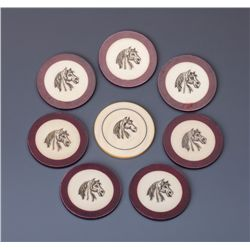 Eight Horsehead Antique Poker Chips