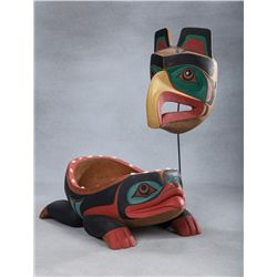 2 Chief Lelooska Carvings, Raven Mask and Frog Bowl