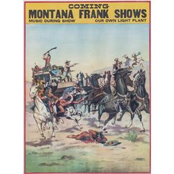 Montana Frank Wild West Show Lithograph