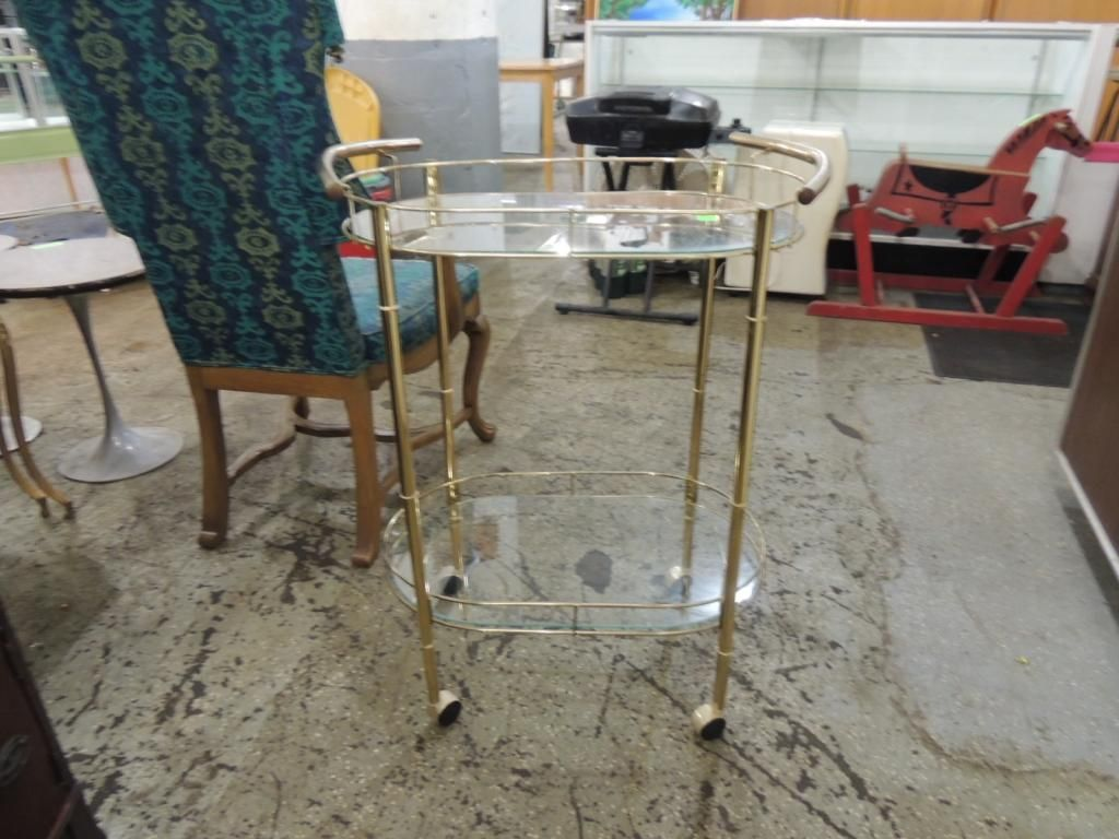 Vintage Metal Glass Bar Cart