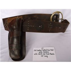 Old Leather Dotted Gun Belt w/ Holster and North & Judd Buckle