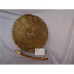 Ojibwa Elk Rawhide Drum w/Yew Wood Drumstick