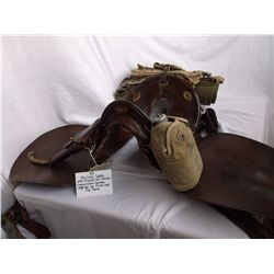 McClellen Saddle w/ Original U.S. Holster, Crossed Cannon Canteen, Leggings and Pistol Shell Clip Po