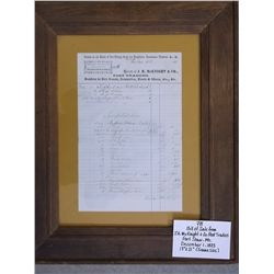 Bill of Sale From J.H. McKnight & Co. Post Traders-Fort Shaw, MT