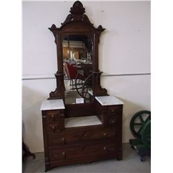 Marble Topped Victorian Step Down Dresser with Mirror