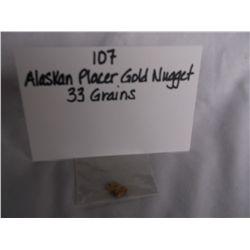 33 Grains Alaskan Placer Gold Nugget