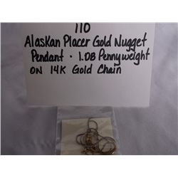 1.08 Pennyweight Alaskan Placer Gold Nugget Pendant on 14K Gold Chain