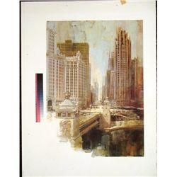 Dan Lotts Chicago River Rare Printers Proof Print