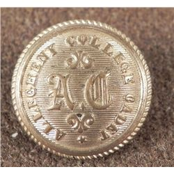 Allegheny College Antique Military Cadet Coat Button