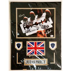Signed Judas Priest Mounted Photo Pick Plaque COA