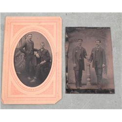 2 Antique Tintype Photo 2 Men Portraits 1/6 Plate