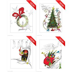 Four Dr. Seuss Prints- The Grinch Cindy Lou-Who
