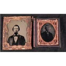 2 Antique Tintype Photos Man with Goatee w/ Borders