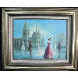 Art Oil on Board Framed Pink Lady