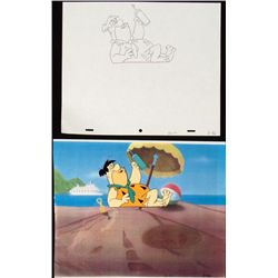 Original Cel The Flintsones Animation Drawing Relaxing