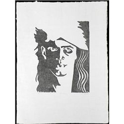 Self-Portrait Block Print Original S/N Don Weaver