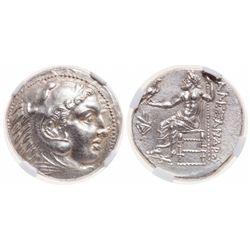 Kingdom of Macedon. AR Tetradrachm. 336-323 BC. NGC Mint State; Strike: 5/5, Surface: 4/5.