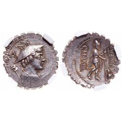 Roman Republic. AR Denarius Serratus. 82 BC. NGC Mint State; Strike: 4/5, Surface: 5/5.