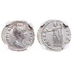 Roman Empire. AR Denarius. AD 138-140/1. NGC Choice Mint State; Strike: 5/5, Surface: 5/5.