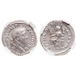 Roman Empire. AR Denarius. AD 222-235. NGC Mint State*; Strike: 5/5, Surface: 5/5.
