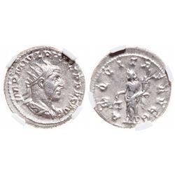 Roman Empire. AR Double-Denarius/ Antoninianus. AD 244-249. NGC Mint State; Strike: 4/5, Surface: 5/
