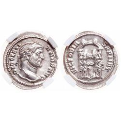 Roman Empire. AR Argenteus. AD 284-305. NGC Mint State; Strike: 5/5, Surface: 5/5.
