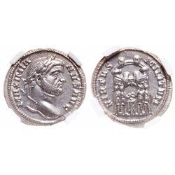 Roman Empire. AR Argenteus. AD 286-310. NGC Mint State; Strike: 5/5, Surface: 5/5.