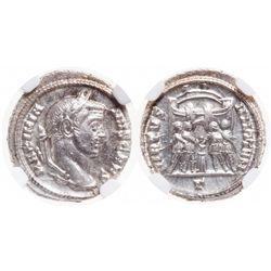 Roman Empire. AR Argenteus. AD 305-311. NGC Mint State; Strike: 5/5, Surface: 5/5.