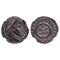 Roman Empire. AE3 (BI Nummus). AD 307-337. NGC Mint State; Strike: 5/5, Surface: 5/5.