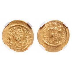 Byzantine Empire. AV Solidus. AD 565-578. NGC Mint State; Strike: 4/5, Surface: 5/5.