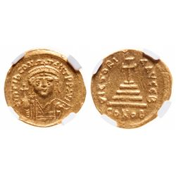 Byzantine Empire. AV Solidus. AD 578-582. NGC Mint State; Strike: 5/5, Surface: 4/5.