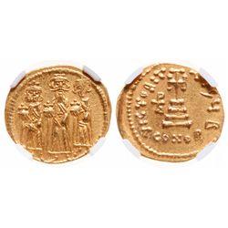 Byzantine Empire. AV Solidus. AD 610-641. NGC Mint State; Strike: 4/5, Surface: 5/5.