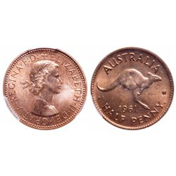 Australia. Half Penny. 1961(P). PCGS PR-65 Red.