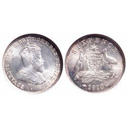 Australia. 6 Pence. 1910. NGC MS-65.